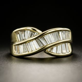 Estate Baguette Diamond Crossover Band Ring - 2