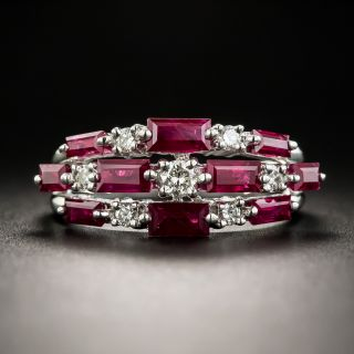 Estate Baguette Ruby and Diamond Band Ring - 1