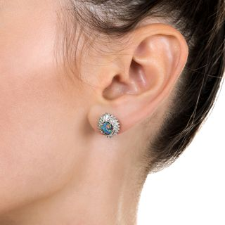Estate Black Opal and Diamond Stud Earrings