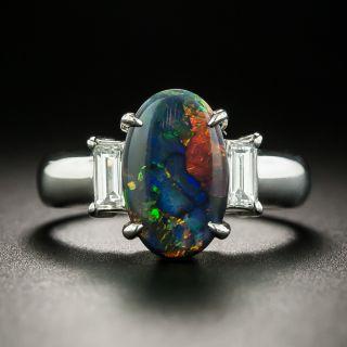 Estate 1.44 Carat Black Opal and Diamond Ring - 1