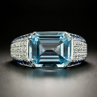 Estate Blue Topaz, Diamond and Sapphire Ring - 2