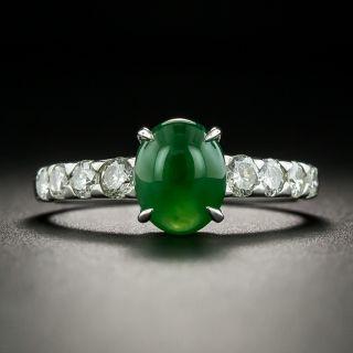 Estate Burmese 1.76 Carat Jadeite Cabochon and Diamond Ring - 1