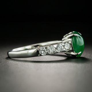Estate Burmese 1.76 Carat Jadeite Cabochon and Diamond Ring