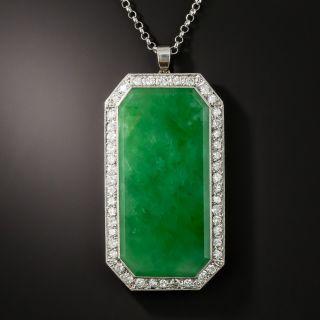 Estate Burmese Jade and Diamond Pendant Necklace - 3