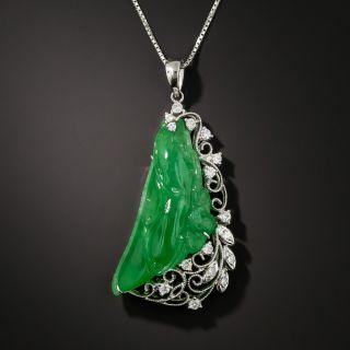 Estate Burmese Jade and Diamond Pendant Necklace - 2