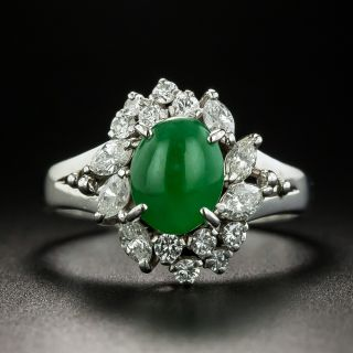 Estate Burmese Jade Cabochon and Diamond Ring - 1