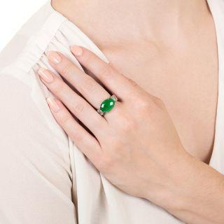 Estate Burmese Jadeite and Diamond Ring