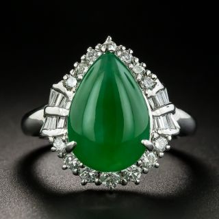 Estate Burmese Pear Shaped Cabochon Jade Cabochon and Diamond Ring - 1