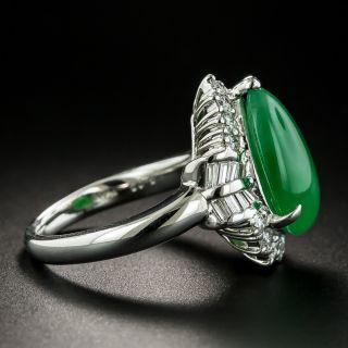 Estate Burmese Pear-Shaped Cabochon Jade and Diamond Ring