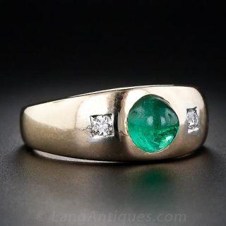 Estate Cabochon Emerald and Diamond Ring