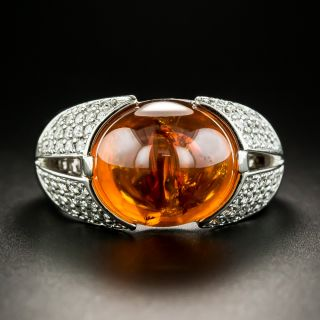 Estate Cabochon Orange Garnet and Diamond Ring - 1