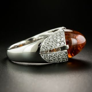 Estate Cabochon Orange Garnet and Diamond Ring