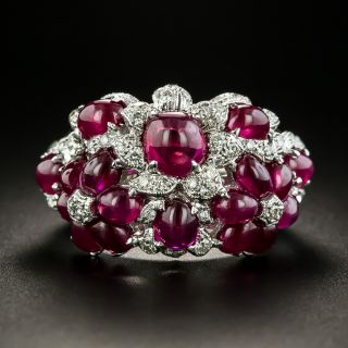 Estate Cabochon Ruby and Diamond Flower Ring - 2