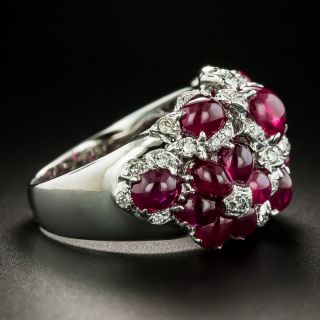 Estate Cabochon Ruby and Diamond Flower Ring