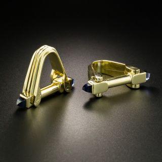 Estate Cabochon Sapphire Stirrup Cufflinks