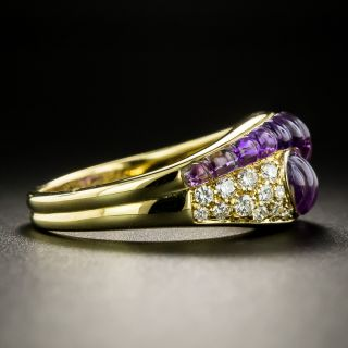 Estate Carved Amethyst and Diamond Ring