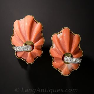 Estate Carved Coral and Diamond Earrings by TRIO - 1