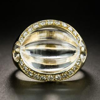 Estate Carved Rock Crystal and Diamond Ring - 2