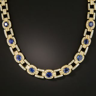 Estate Sapphire and Diamond Link Necklace - 3