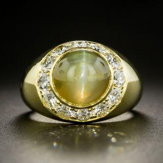 Estate Chrysoberyl Cat's-Eye and Diamond Ring - 1