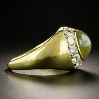 Estate Chrysoberyl Cat's-Eye and Diamond Ring