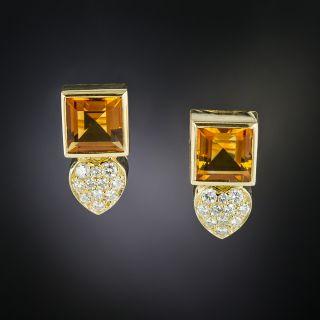 Estate Citrine and Diamond Earrings - 3