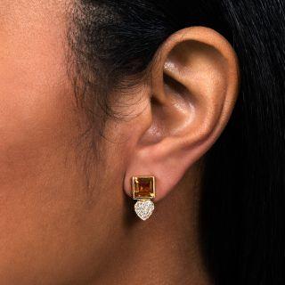 Estate Citrine and Diamond Earrings
