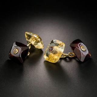 Estate Citrine and Garnet Cufflinks by Trianon - 2