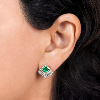 Estate Colombian Emerald and Diamond Earrings