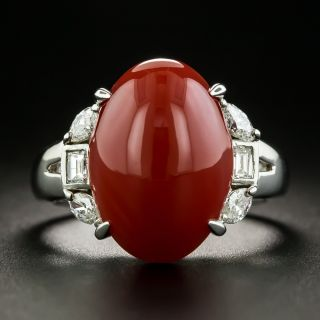 Estate Coral Cabochon and Diamond Ring - 1
