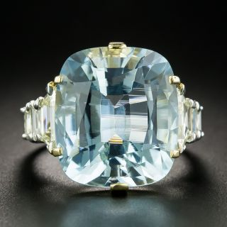 Estate Cushion-Cut 16.80 Carat Aquamarine Diamond Cocktail Ring - 2
