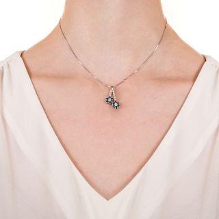 Estate Diamond and Alexandrite Negligee Daisy Pendant