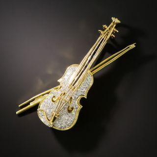 Estate Diamond and Sapphire Violin Brooch - 2