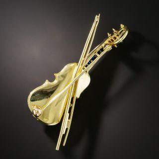 Estate Diamond and Sapphire Violin Brooch