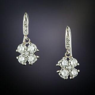 Estate Diamond Clover Earrings - 2