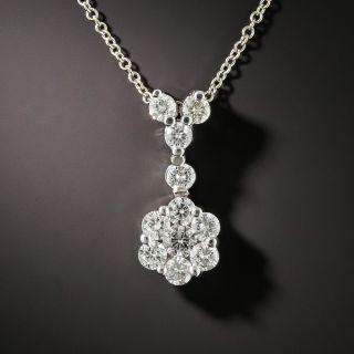 Estate Diamond Cluster Drop Necklace - 2