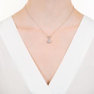 Estate Diamond Cluster Drop Necklace