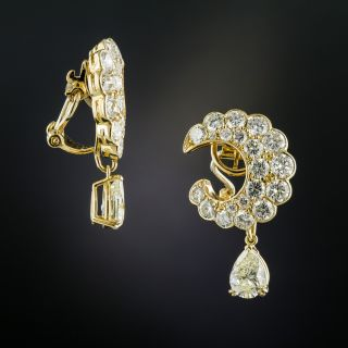 Estate Diamond Crescent Earrings With Pear-Shaped Diamond Drops - 1