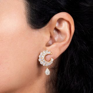 Estate Diamond Crescent Earrings With Pear-Shaped Diamond Drops