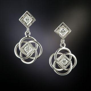 Estate Diamond Dangle Earrings - 3