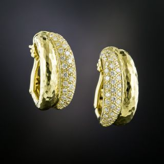 Estate Diamond Double Hoop Earrings - 2