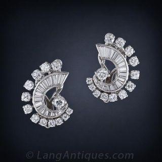 Estate Diamond Earrings and Double Clip Combo  - 1