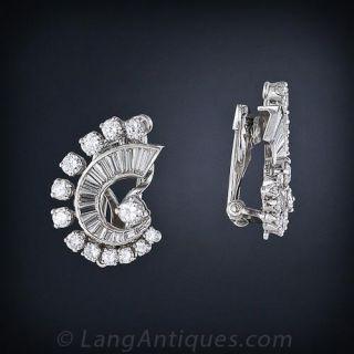 Mid-Century Diamond Earrings and Double Clip Combo
