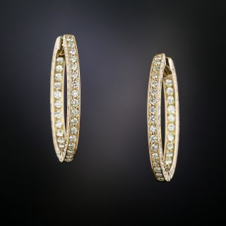 Estate Diamond Eternity Inside Outside Hoop Earrings - 2