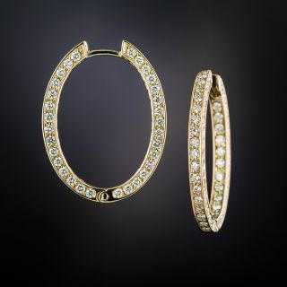 Estate Diamond Eternity Inside Outside Hoop Earrings