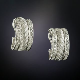 Estate Diamond Rope Motif Hoop Earrings - 2