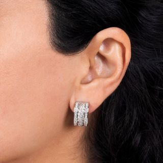 Estate Diamond Rope Motif Hoop Earrings