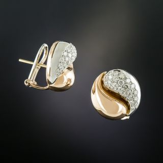 Estate Diamond Yin and Yang Earrings - 1