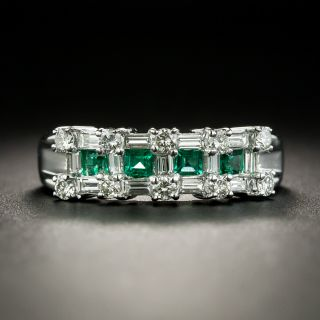 Estate Emerald and Diamond Band Ring - 1