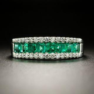 Estate Emerald and Diamond Band Ring - 3